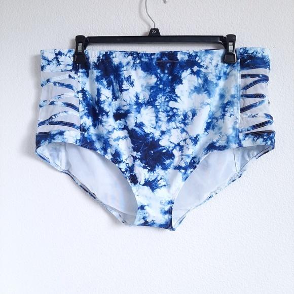 TORRID tye dye blue lattice side swim suit bottoms